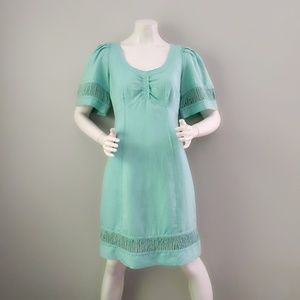 Plenty Tracy Reece Turquoise Linen Rope Dress S